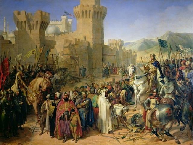 Первыми выступили немецкие рыцари. Английские и французские рыцари выступили в поход лишь через год после немцев. Они морем прибыли в Сицилию, а оттуда направились в Сирию. По пути англичане захватили остров Кипр, с этого времени он стал опорной базой крестоносцев. Французский король Филипп II Август, рассорившись со своим английским союзником, в самый разгар военных действий вернулся во Францию. Король Англии Ричард I Львиное Сердце , смелый рыцарь, «всех хотел превзойти славой». После осады он штурмом взял порт Акру, который стал отныне столицей Иерусалимского королевства. Ричард Львиное Сердце проявил себя не только храбрым, но и неумолимо жестоким: в Акре крестоносцы по его приказу перебили 2 тысячи мусульман. Трижды Ричард подходил к Иерусалиму , но отвоевать город так и не сумел.