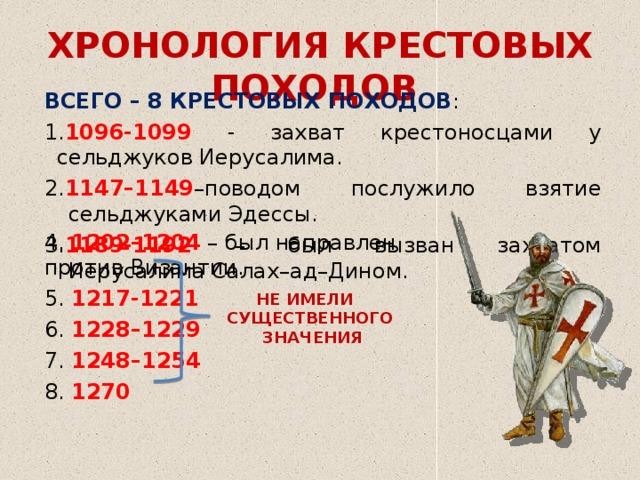 ХРОНОЛОГИЯ КРЕСТОВЫХ ПОХОДОВ ВСЕГО – 8 КРЕСТОВЫХ ПОХОДОВ : 1. 1096-1099 - захват крестоносцами у сельджуков Иерусалима. 2. 1147–1149 –поводом послужило взятие сельджуками Эдессы. 3. 1189-1192 – был вызван захватом Иерусалима Салах–ад–Дином. 4. 1202–1204 – был направлен против Византии. 5. 1217-1221 6. 1228–1229 7. 1248–1254 8. 1270 НЕ ИМЕЛИ СУЩЕСТВЕННОГО ЗНАЧЕНИЯ