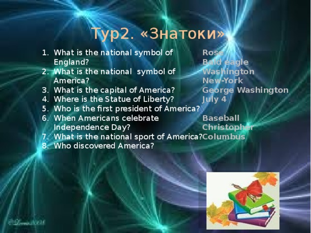Тур2. «Знатоки» What is the national symbol of England? What is the national symbol of America? What is the capital of America? Where is the Statue of Liberty? Who is the first president of America? When Americans celebrate Independence Day? What is the national sport of America? Who discovered America? Rose Bald eagle Washington New-York George Washington July 4  Baseball Christopher Columbus