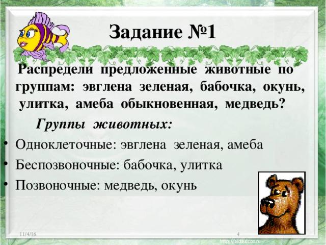 Задание №1  Распредели предложенные животные по группам: эвглена зеленая, бабочка, окунь, улитка, амеба обыкновенная, медведь?  Группы животных: Одноклеточные: эвглена зеленая, амеба Беспозвоночные: бабочка, улитка Позвоночные: медведь, окунь 11/4/16