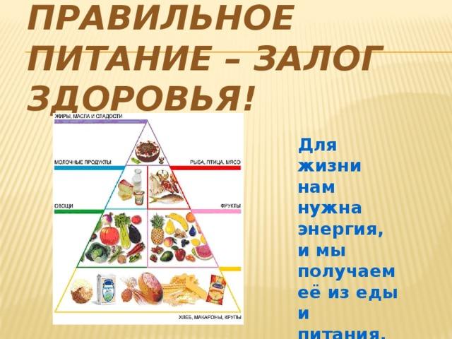 Правильное питание – залог здоровья! Для жизни нам нужна энергия, и мы получаем её из еды и питания.