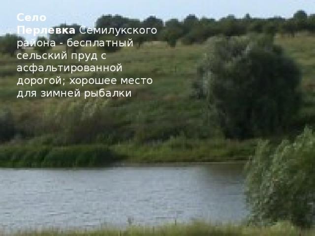 Село Перлевка Семилукского района - бесплатный сельский пруд с асфальтированной дорогой; хорошее место для зимней рыбалки