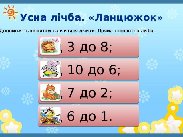 Усна лічба. «Ланцюжок» Допоможіть звірятам навчитися лічити. Пряма і зворотна лічба: від 3 до 8; від 10 до 6; від 7 до 2; від 6 до 1.