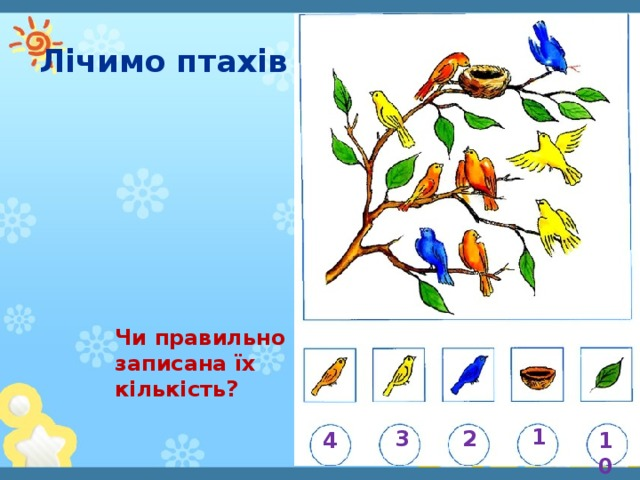 Лічимо птахів Чи правильно записана їх кількість? 1 3 2 4 10