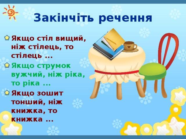 Закінчіть речення Якщо стіл вищий, ніж стілець, то стілець ... Якщо струмок вужчий, ніж ріка, то ріка ... Якщо зошит тонший, ніж книжка, то книжка ...