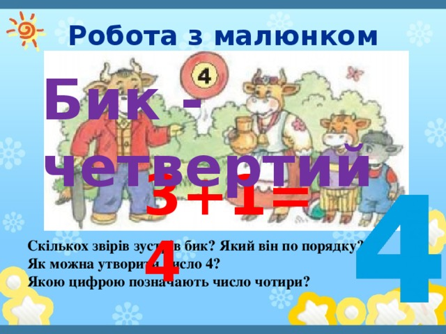 Робота з малюнком Бик - четвертий 3+1=4 Скількох звірів зустрів бик? Який він по порядку? Як можна утворити число 4? Якою цифрою позначають число чотири?