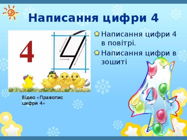 Написання цифри 4 Написання цифри 4 в повітрі. Написання цифри в зошиті Відео «Правопис цифри 4»