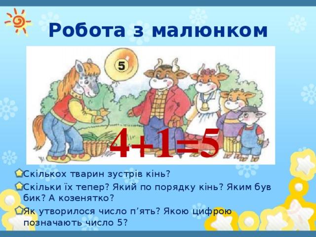 Робота з малюнком 4+1=5