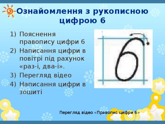Ознайомлення з рукописною цифрою 6 Пояснення правопису цифри 6 Написання цифри в повітрі під рахунок «раз-i,два-і». Перегляд відео Написання цифри в зошиті Перегляд відео «Правопис цифри 6»