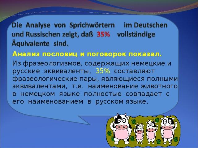 Анализ пословиц и поговорок показал. Из фразеологизмов, содержащих немецкие и русские эквиваленты, 35% составляют фразеологические пары, являющиеся полными эквивалентами, т.е. наименование животного в немецком языке полностью совпадает с его наименованием в русском языке.