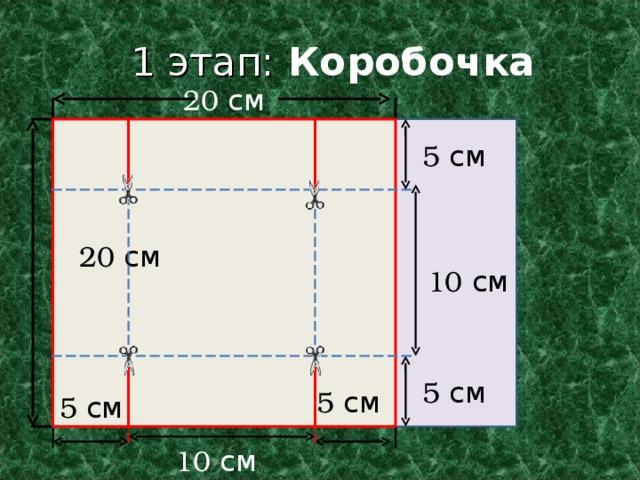1 этап: Коробочка  20 см 5 см 5 см 20 см 10 см 5 см 5 см 5 см 10 см