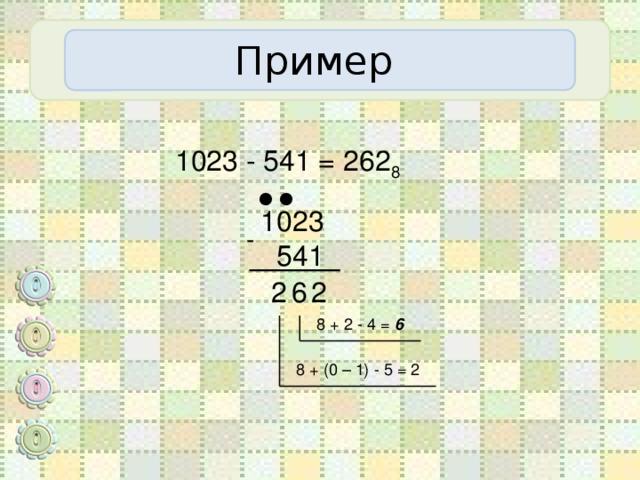 Пример 1023 - 541 = 262 8  ● ● 1023  541 - 2 6 2 8 + 2 - 4 = 6 8 + (0 – 1) - 5 = 2