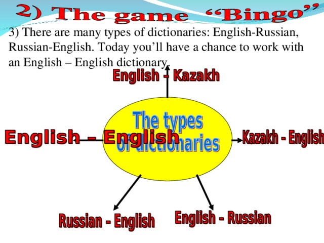 3) There are many types of dictionaries: English-Russian, Russian-English. Today you'll have a chance to work with an English – English dictionary.