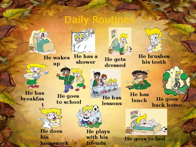 Daily Routines He brushes his teeth He has a shower He wakes up He gets dressed He has breakfast He has lunch He goes to school He has lessons He goes back home He does his homework He plays with his friends  He goes to bed