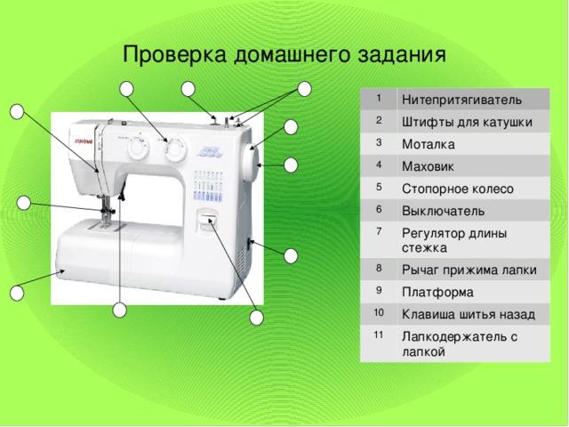 Проверка домашнего задания 1 2 Нитепритягиватель Штифты для катушки 3 4 Моталка Маховик 5 Стопорное колесо 6 Выключатель 7 Регулятор длины стежка 8 Рычаг прижима лапки 9 10 Платформа Клавиша шитья назад 11 Лапкодержатель с лапкой