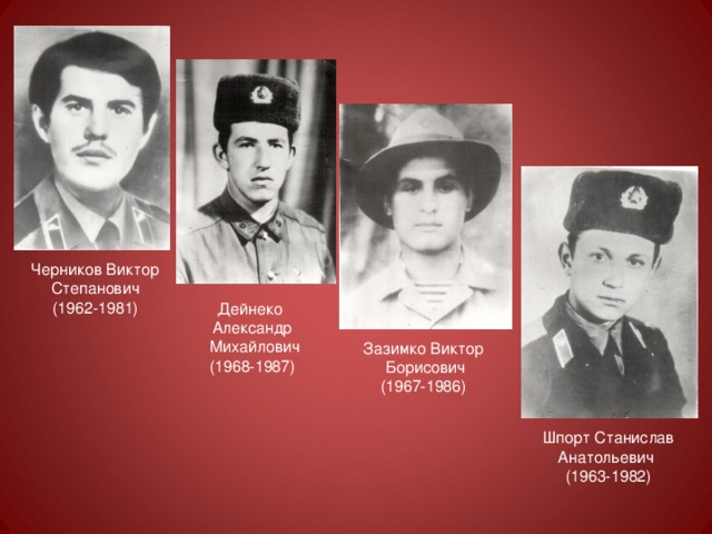 Черников Виктор Степанович (1962-1981) Дейнеко Александр  Михайлович (1968-1987) Зазимко Виктор  Борисович (1967-1986) Шпорт Станислав Анатольевич (1963-1982)