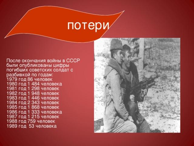 потери После окончания войны в СССР были опубликованы цифры погибших советских солдат с разбивкой по годам: 1979 год 86 человек 1980 год 1484 человека 1981 год 1298 человек 1982 год 1948 человек 1983 год 1446 человек 1984 год 2343 человек 1985 год 1868 человек 1986 год 1333 человека 1987 год 1215 человек 1988 год 759 человек 1989 год 53 человека