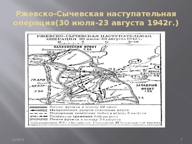 Ржевско-Сычевская наступательная операция(30 июля-23 августа 1942г.) 11/4/16