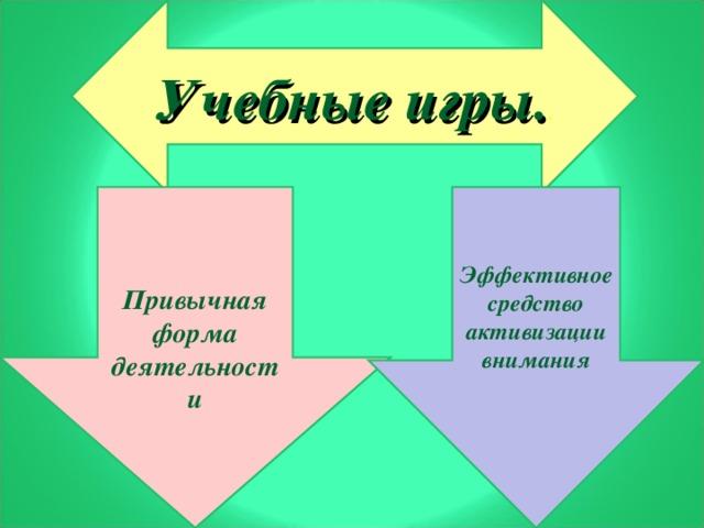 Учебные игры. .   Привычная форма деятельности Эффективное средство активизации внимания