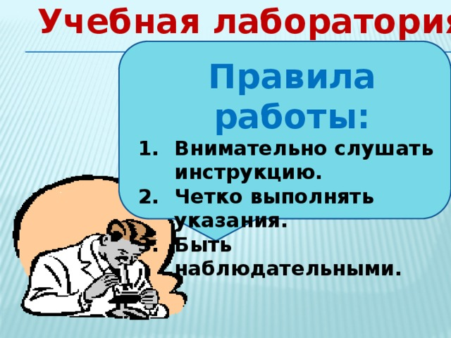 Учебная лаборатория Правила работы: