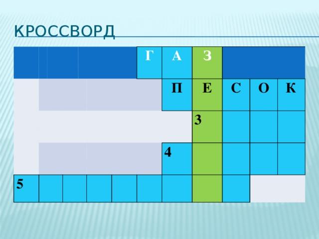 Кроссворд           5      Г      А   З П Е    4 3 С О К