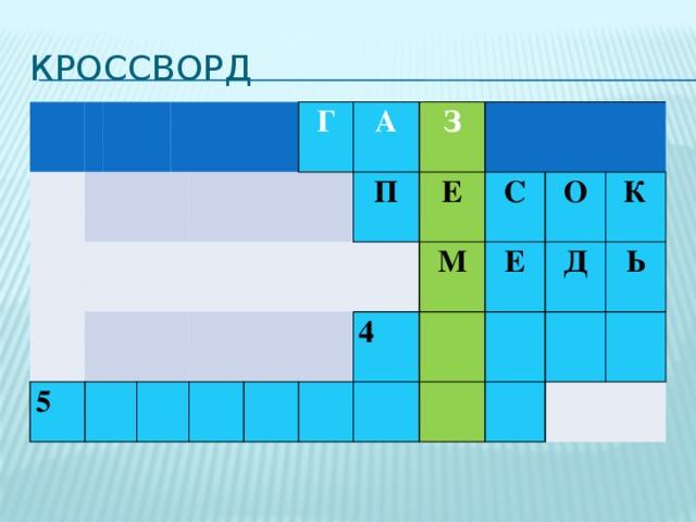 Кроссворд         5        Г   А     П  З  Е    М 4 С Е О Д К Ь
