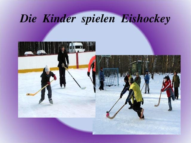 Die Kinder spielen Eishockey