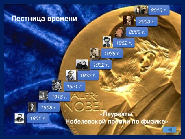 2010 г. Лестница времени  2003 г. 2000 г. 1962 г. 1935 г. 1932 г. 1922 г. 1921 г. 1918 г. 1908 г. «Лауреаты Нобелевской премии по физике» 1901 г.