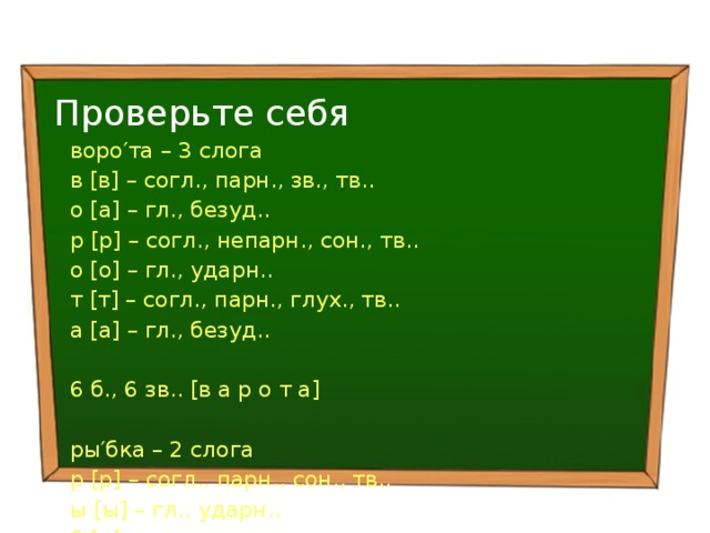 Проверьте себя воро′та – 3 слога в [в] – согл., парн., зв., тв.. о [а] – гл., безуд.. р [р] – согл., непарн., сон., тв.. о [о] – гл., ударн.. т [т] – согл., парн., глух., тв.. а [а] – гл., безуд.. 6 б., 6 зв.. [в а р о т а]  ры′бка – 2 слога р [р] – согл., парн., сон., тв.. ы [ы] – гл., ударн.. б [п] – согл., парн., глух., тв.. к [к] – согл., парн., глух., тв.. а [а] – гл., безуд.. 5 б., 5 зв.. [р ы п к а]