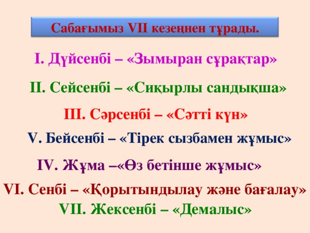 Сабағымыз V ІІ кезеңнен тұрады. І. Дүйсенбі – «Зымыран сұрақтар» ІІ. Сейсенбі – «Сиқырлы сандықша» ІІІ. Сәрсенбі – «Сәтті күн» V . Бейсенбі – «Тірек сызбамен жұмыс» І V . Жұма –«Өз бетінше жұмыс» V І. Сенбі – «Қорытындылау және бағалау» V ІІ. Жексенбі – «Демалыс»