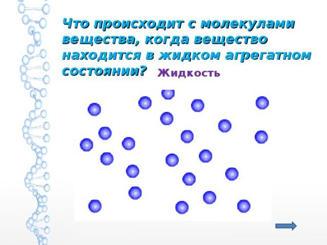 Что происходит с молекулами вещества, когда вещество находится в жидком агрегатном состоянии? Жидкость