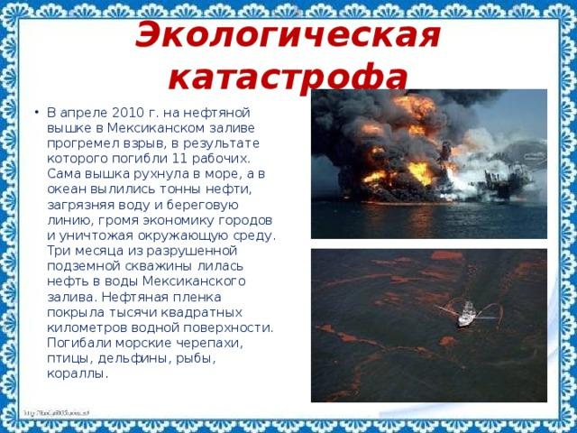 Доклад по экологии на тему экологические катастрофы 4152
