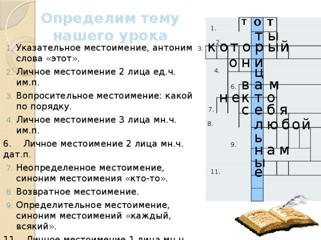 Определим тему нашего урока  1.  2.  4. Т О Т   7. 6.   8.   9.     11.       т ы о й ы р т о к Указательное местоимение, антоним слова «этот». Личное местоимение 2 лица ед.ч. им.п. Вопросительное местоимение: какой по порядку. Личное местоимение 3 лица мн.ч. им.п. 6. Личное местоимение 2 лица мн.ч. дат.п. Неопределенное местоимение, синоним местоимения «кто-то». Возвратное местоимение. Определительное местоимение, синоним местоимений «каждый, всякий». 11. Личное местоимение 1 лица мн.ч. дат.п. 3. о н и ц м а в е к т о н е б я с л ю б о й ь н а м ы е