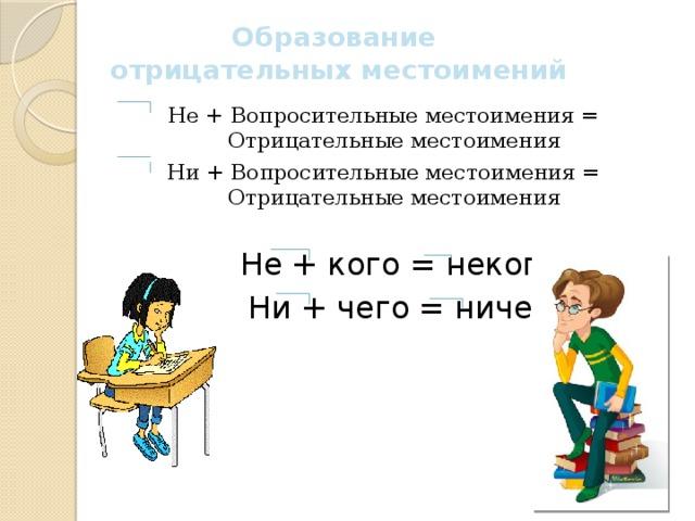 Образование отрицательных местоимений Не + Вопросительные местоимения = Отрицательные местоимения Ни + Вопросительные местоимения = Отрицательные местоимения  Не + кого = некого  Ни + чего = ничего