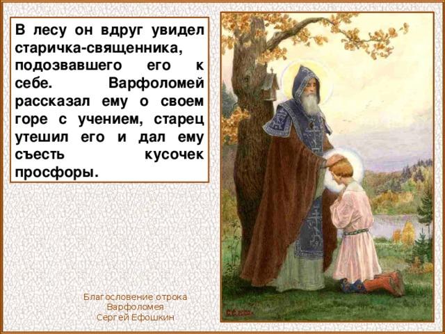 В лесу он вдруг увидел старичка-священника, подозвавшего его к себе. Варфоломей рассказал ему о своем горе с учением, старец утешил его и дал ему съесть кусочек просфоры. Благословение отрока Варфоломея Сергей Ефошкин