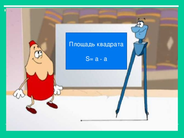 Площадь квадрата S= a · a