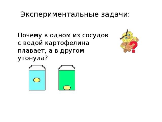 Экспериментальные задачи: Почему в одном из сосудов с водой картофелина плавает, а в другом утонула?