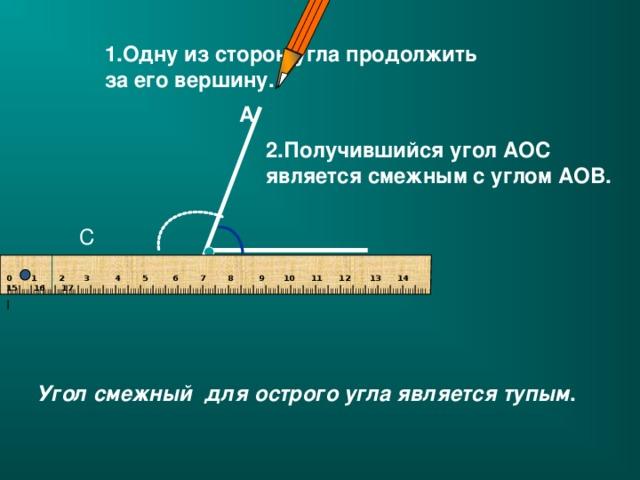 1.Одну из сторон угла продолжить за его вершину. А 2.Получившийся угол АОС является смежным с углом АОВ.  С О В 0 1  2 3  4 5  6 7 8  9 10 11 12 13 14 15 16 17 I IIII I IIII I IIII I IIII I IIII I IIII I IIII I IIII I IIII I IIII I IIII I IIII I IIII I IIII I IIII I IIII I IIII I IIII I IIII I IIII I IIII I IIII I IIII I IIII I IIII I IIII I IIII I IIII I IIII I IIII I IIII I IIII I IIII I IIII I  Угол смежный для острого угла является тупым .