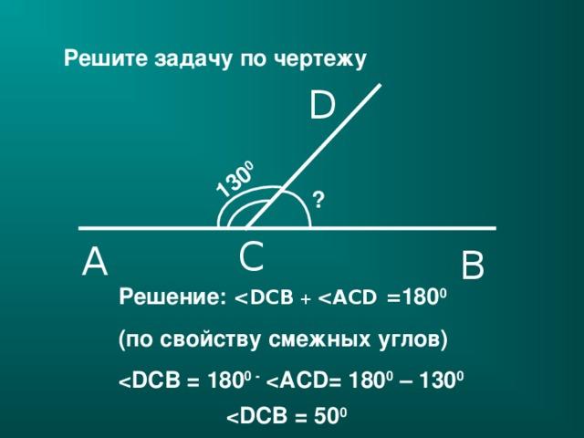 130 0 Решите задачу по чертежу D ? C A B Решение:   +   = 180 0 ( по свойству смежных углов )  0 -  0 – 130 0   0  20