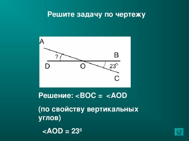 Решите задачу по чертежу Решение:  ( по свойству вертикальных углов )   0
