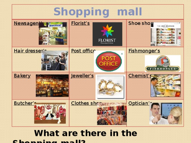 Phonetic drill Department store Shopping mall       Flea market Car boot sale Bazaar   ar [a:] t [t]  sh [∫] p [p]