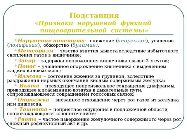Подстанция  «Признаки нарушений функций пищеварительной системы»