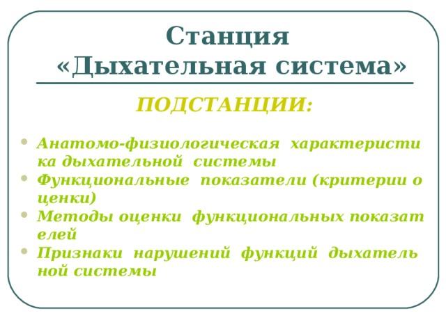 Станция  «Дыхательная система» ПОДСТАНЦИИ: