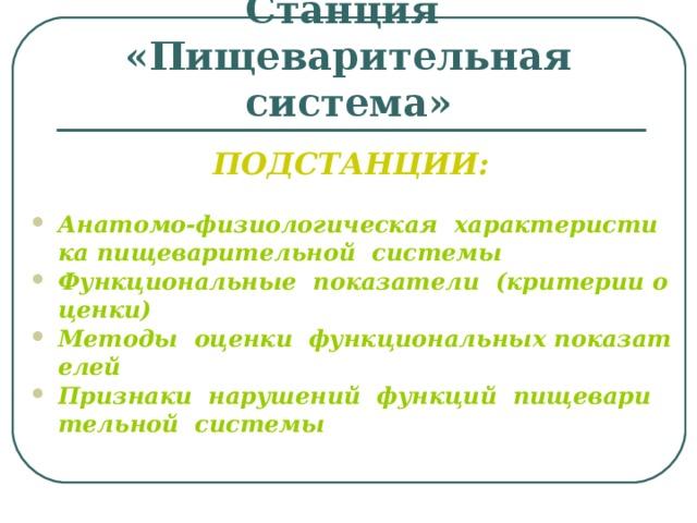 Станция  «Пищеварительная система» ПОДСТАНЦИИ: