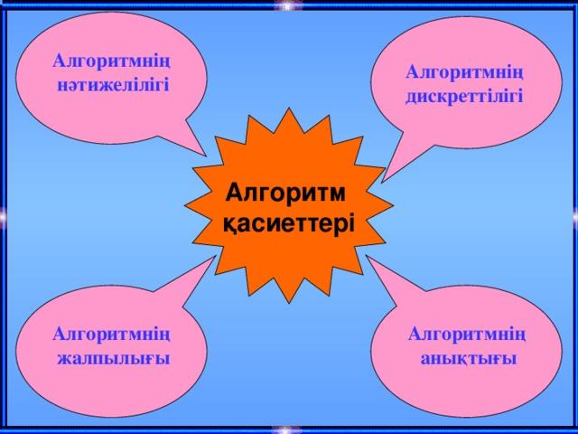 Алгоритмнің нәтижелілігі Алгоритмнің дискреттілігі Алгоритм қасиеттері Алгоритмнің Алгоритмнің анықтығы жалпылығы