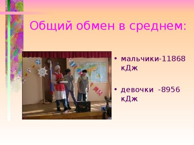 Общий обмен в среднем: мальчики-11868 кДж  девочки -8956 кДж