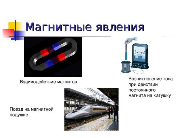 Магнитные явления Возникновение тока при действии постоянного магнита на катушку Взаимодействие магнитов Поезд на магнитной подушке