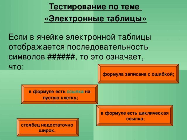 Тестирование по теме «Электронные таблицы» Если в ячейке электронной таблицы отображается последовательность символов ######, то это означает, что: формула записана с ошибкой; в формуле есть ссылка на  пустую клетку; в формуле есть циклическая  ссылка; столбец недостаточно широк.