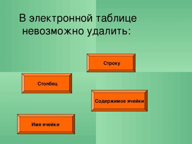 В электронной таблице невозможно удалить:  Строку  Столбец Содержимое ячейки Имя ячейки