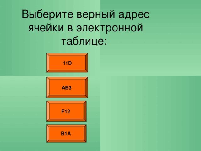 Выберите верный адрес ячейки в электронной таблице: 11D АБ3  F12  В1А